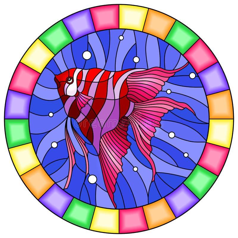 Illustration en verre souillé avec les poissons scalaires lumineux sur le fond des bulles de l'eau et d'air, image ronde dans le  illustration stock