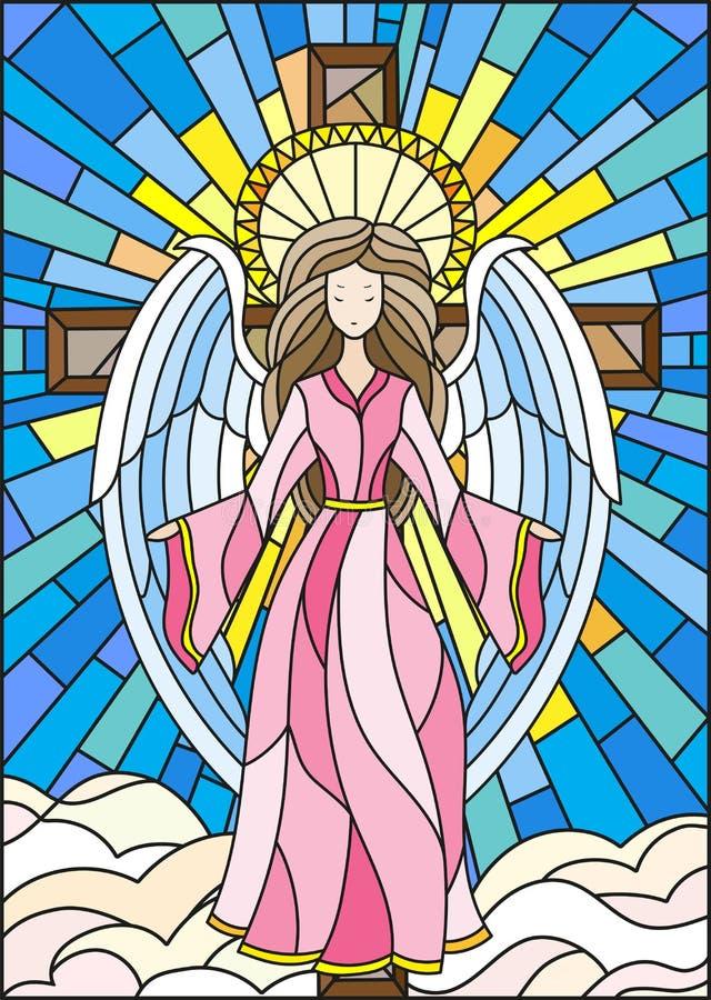 Illustration en verre souillé avec un ange sur le fond de la croix, du ciel et des nuages illustration de vecteur