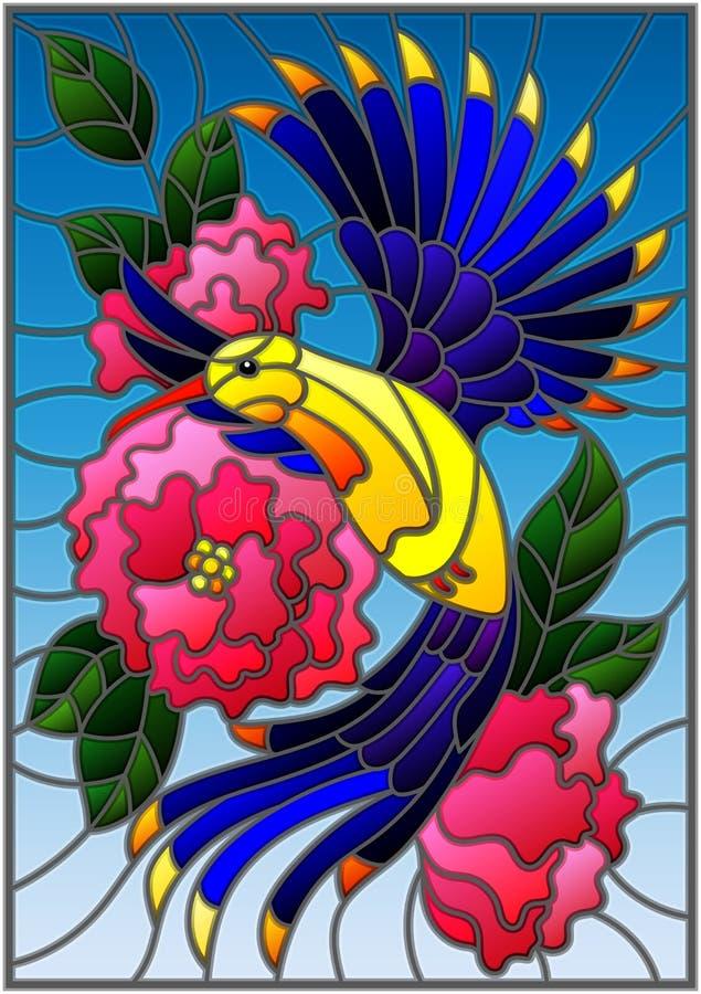 Illustration en verre souillé avec un bel oiseau bleu lumineux et la branche de l'usine fleurissante sur un fond bleu illustration stock