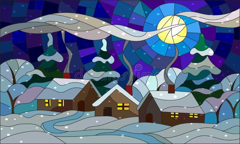 Illustration en verre souillé avec un paysage de village d'hiver illustration de vecteur
