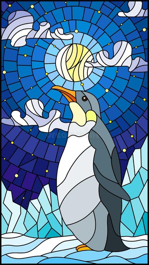 Illustration en verre souillé avec un pingouin sur un fond de neige, de ciel étoilé, de lune et de nuages illustration stock