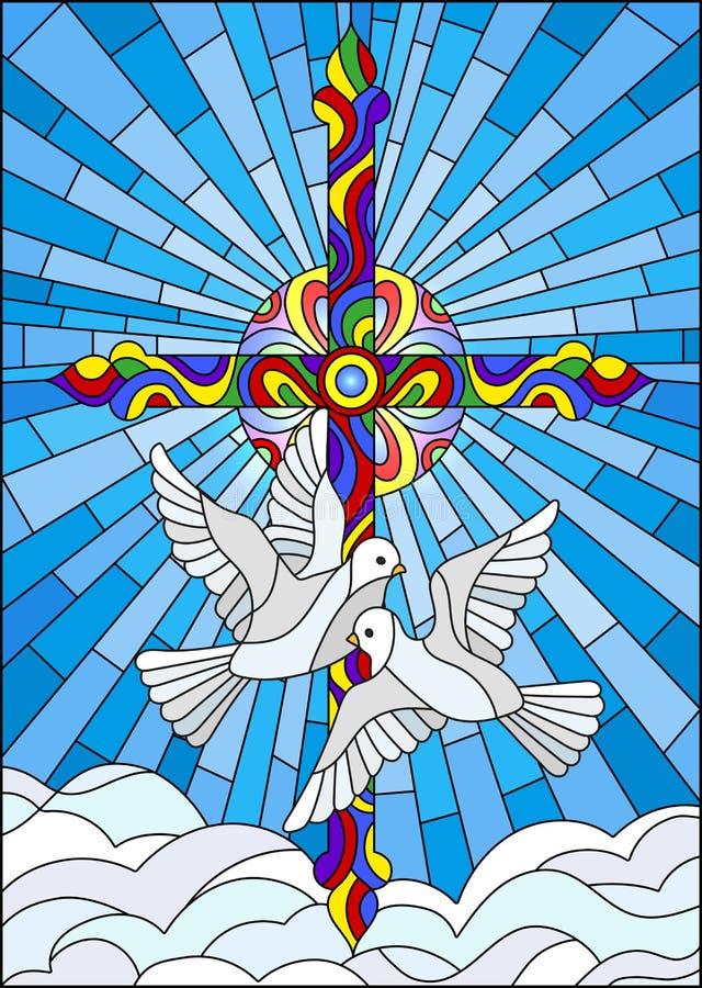 Illustration en verre souillé avec une croix et une paire de colombes blanches illustration stock