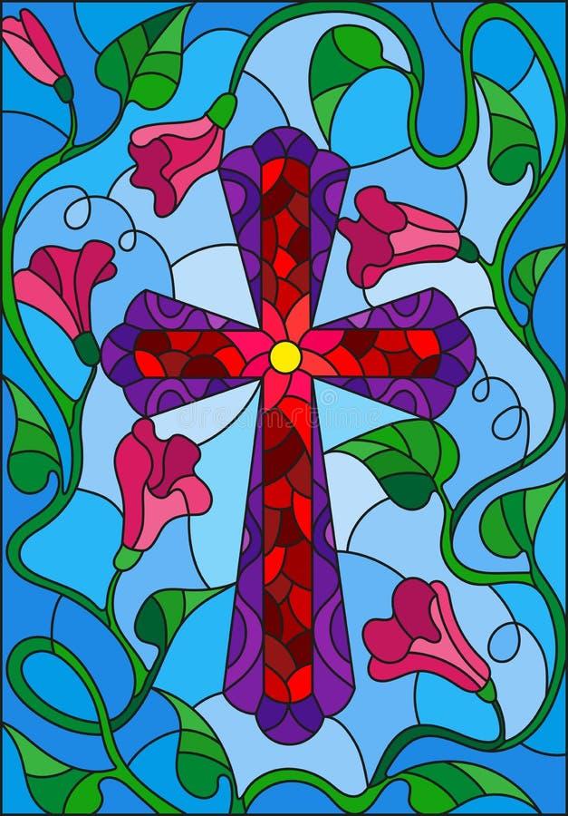 Illustration en verre souillé avec une croix lumineuse dans le ciel et les fleurs roses illustration de vecteur