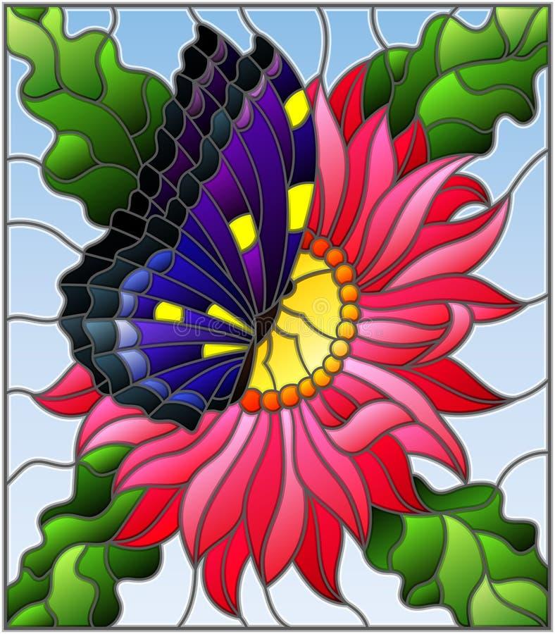 Illustration en verre souillé avec une fleur rose d'aster et un papillon lumineux sur un fond bleu illustration libre de droits