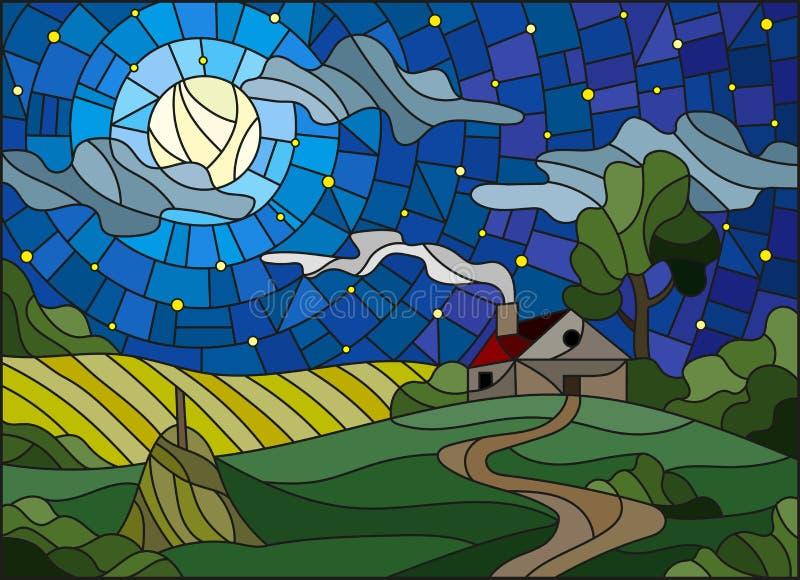 Illustration en verre souillé avec une maison isolée parmi le champ, la lune et le ciel étoilé illustration de vecteur