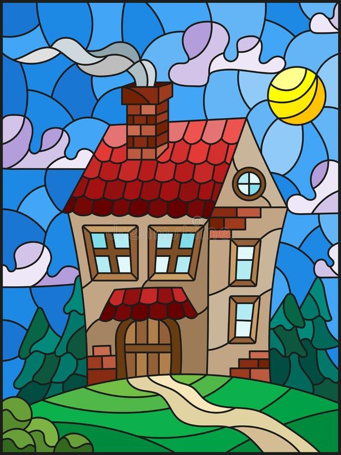 Illustration en verre souillé avec une maison isolée sur un fond de forêt et de ciel verts illustration de vecteur