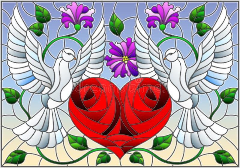 Illustration en verre souillé avec une paire de pigeons et un coeur contre le ciel et les fleurs illustration libre de droits