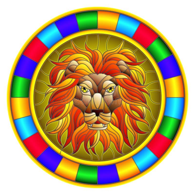 Illustration en verre souillé avec une tête du ` s de lion, une image circulaire avec le cadre lumineux illustration libre de droits