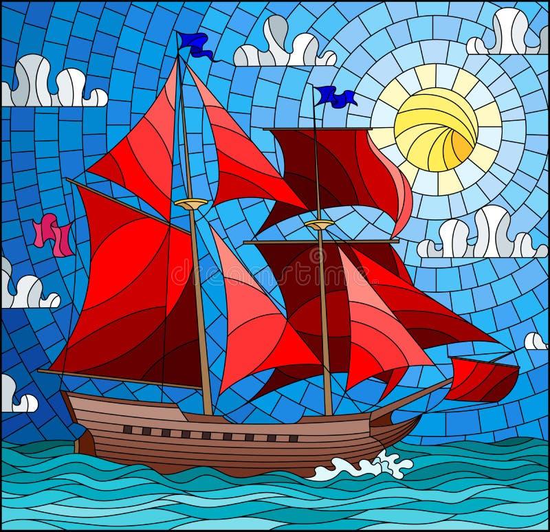 Illustration en verre souillé avec une vieille navigation de bateau avec les voiles rouges contre la mer, le soleil et le ciel, p illustration de vecteur