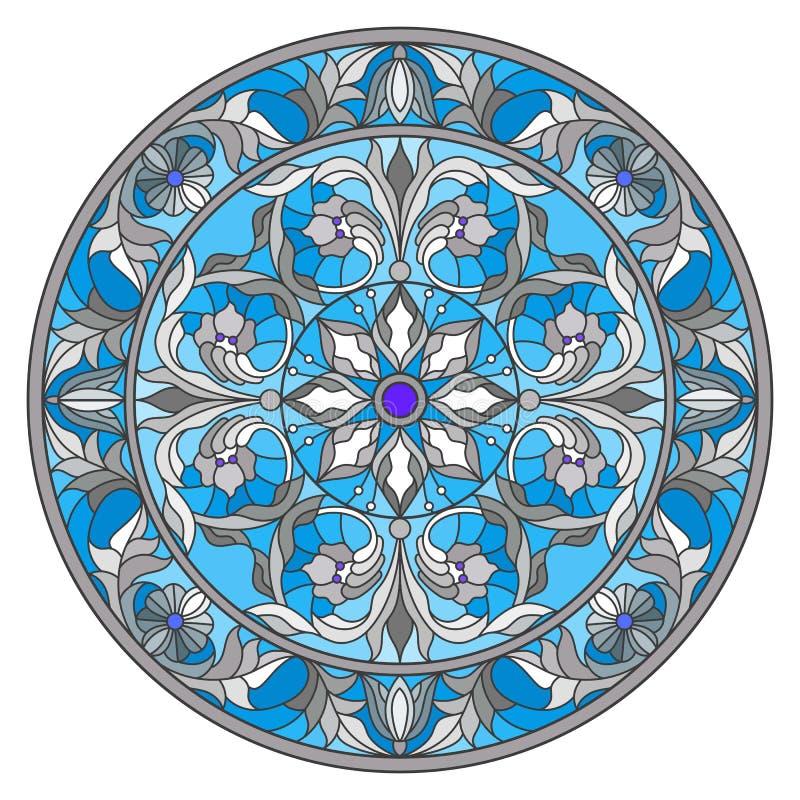 Illustration en verre souillé, image retournée ronde avec les ornements floraux et remous illustration stock