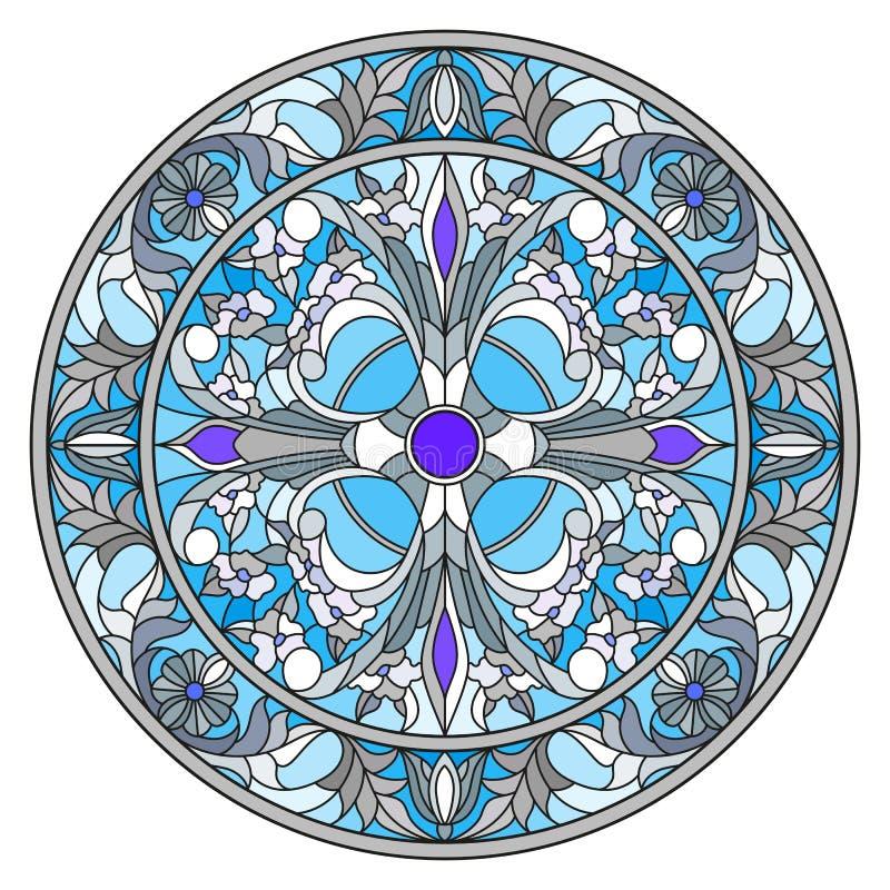 Illustration en verre souillé, image retournée ronde avec les ornements floraux et remous illustration de vecteur