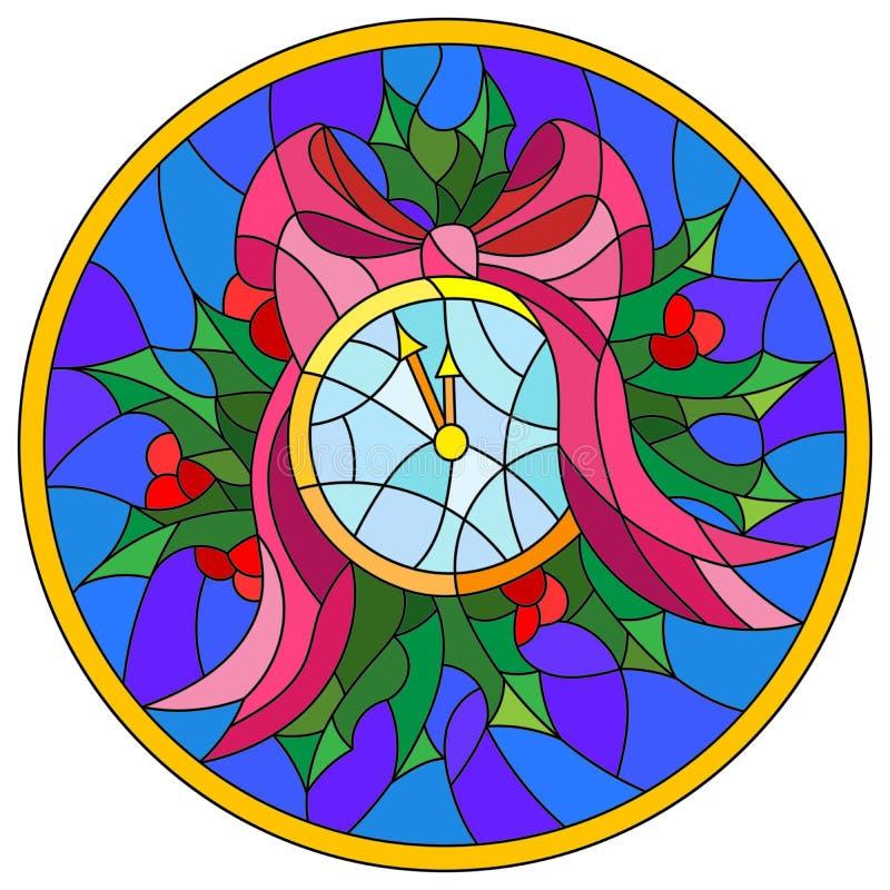 Illustration en verre souillé pour la nouvelle année, les montres et le houx dans le cadre rond illustration stock