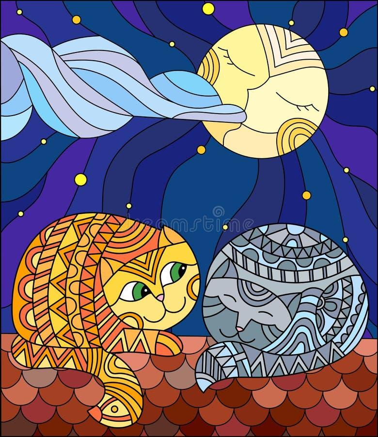 Illustration en verre souillé quelques chats se reposant sur le toit contre le ciel étoilé et la lune illustration libre de droits