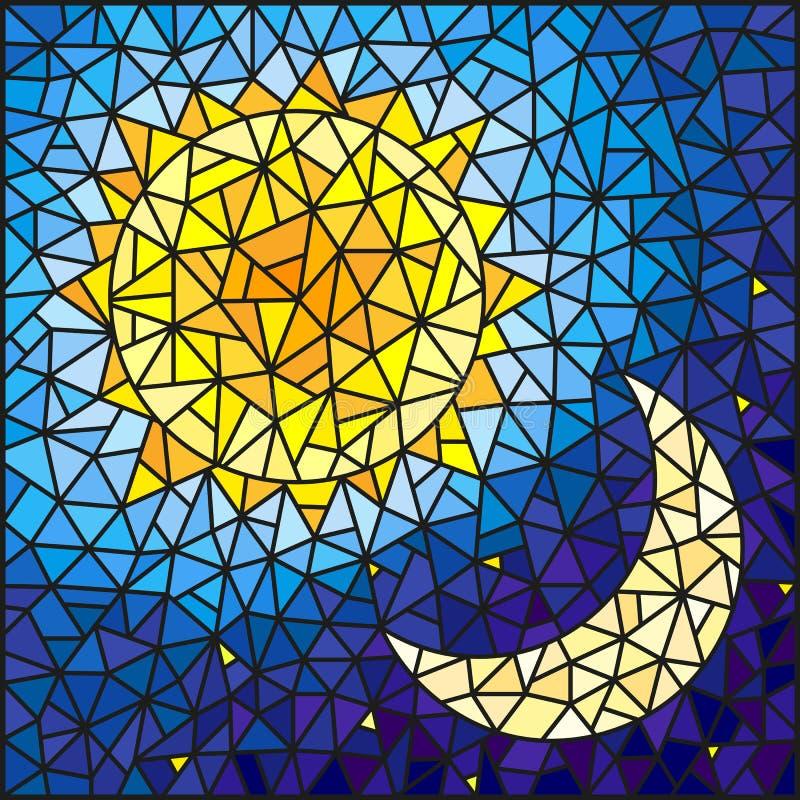 Illustration en verre souillé, soleil abstrait et lune dans le ciel illustration de vecteur