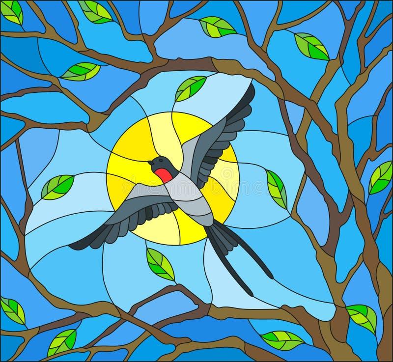 Illustration en verre souillé sur le thème du ressort, le vol d'hirondelle sur le fond du ciel ensoleillé par le lumen du soutien illustration libre de droits
