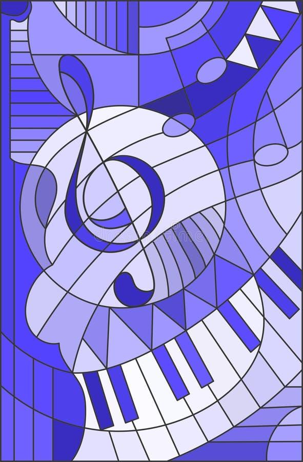 Illustration en verre souillé une clef triple, ton bleu illustration stock