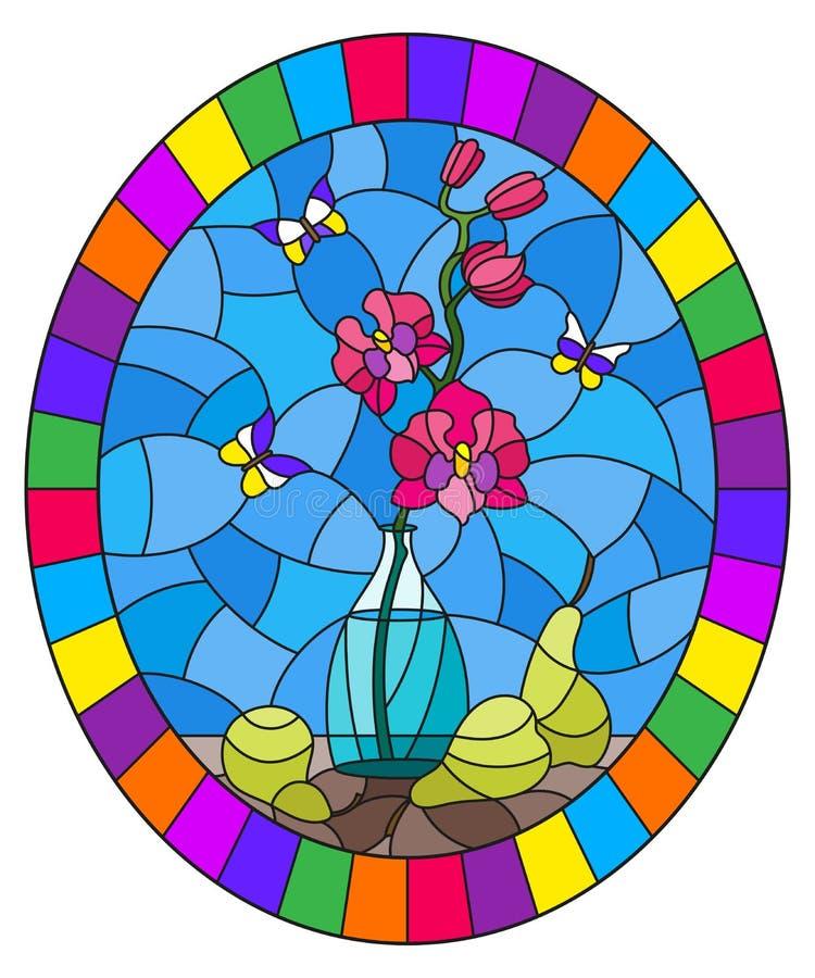 Illustration en verre souillée avec des bouquets d'orchidée rose en vase, papillons et poires sur la table sur le fond bleu, ima  illustration stock