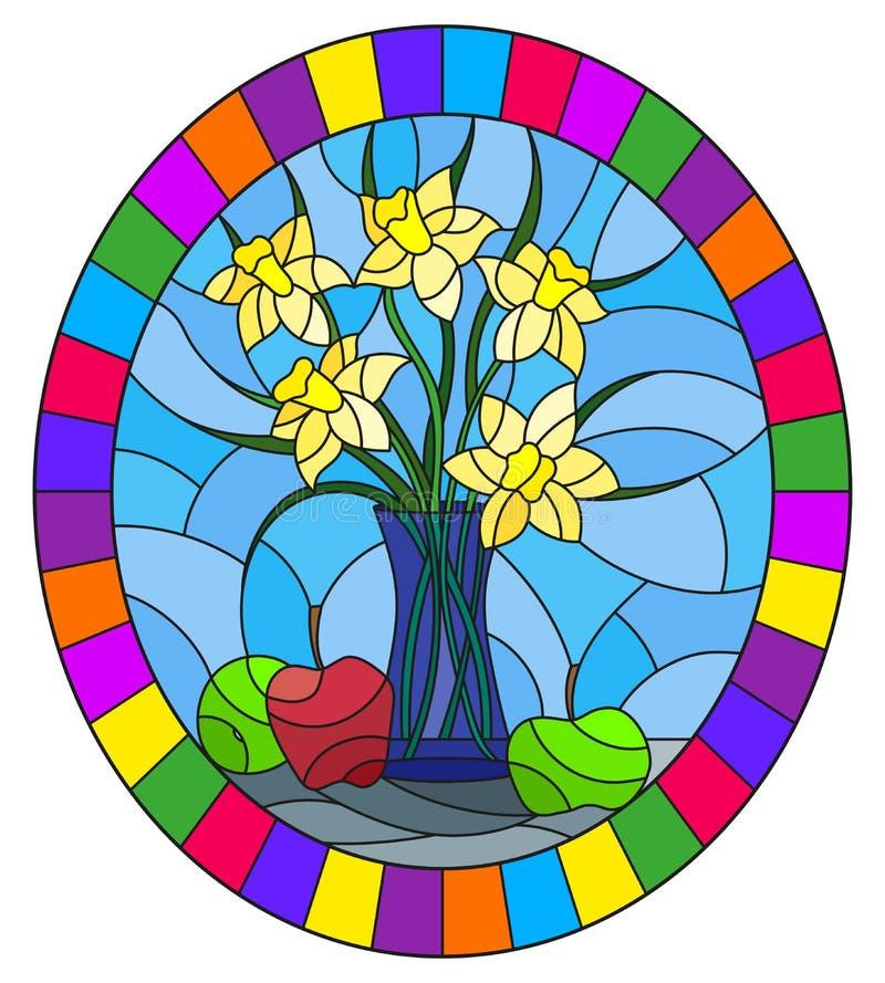 Illustration en verre souillée avec des bouquets des fleurs de narcisse dans un vase bleu et des pommes sur la table sur le fond illustration de vecteur