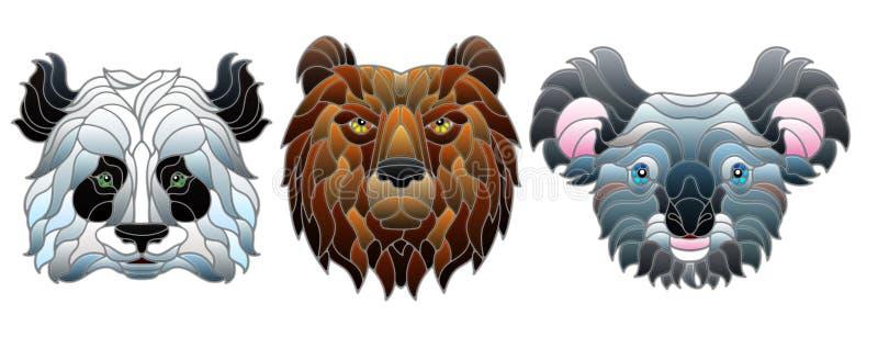 Illustration en verre souillée avec des chefs animaux, un ours panda, un ours brun et l'ours de koala, isolats sur le fond blanc illustration de vecteur