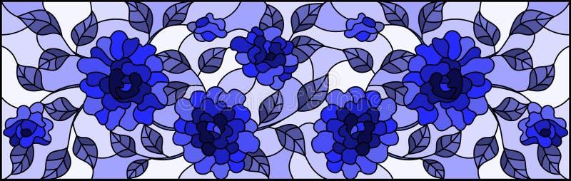Illustration en verre souillée avec avec des fleurs, des bourgeons et des feuilles des roses sur un fond clair, monochrome, bleu illustration libre de droits