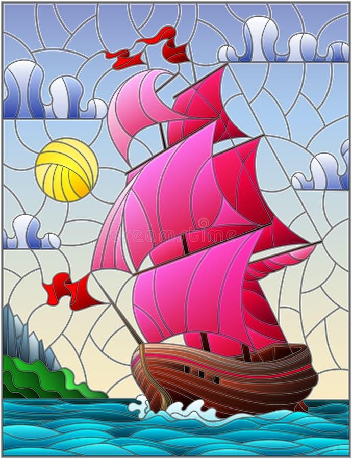 Illustration en verre souillée avec des voiliers avec les voiles roses contre le ciel, la mer et le lever de soleil illustration de vecteur