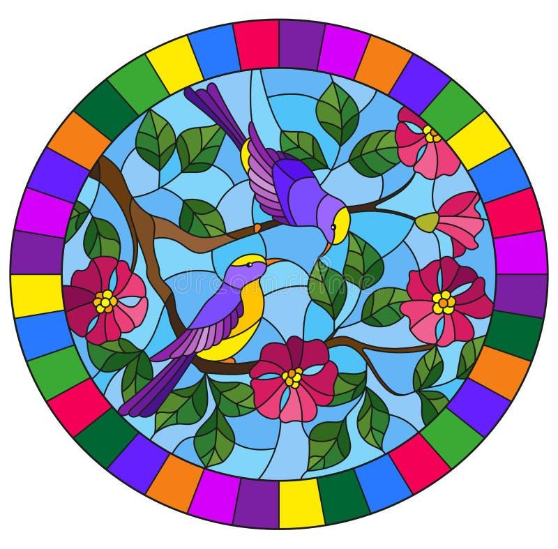 Illustration en verre souillée avec deux deux oiseaux lumineux sur les branches de la rose sauvage de floraison sur un ciel de fo illustration libre de droits