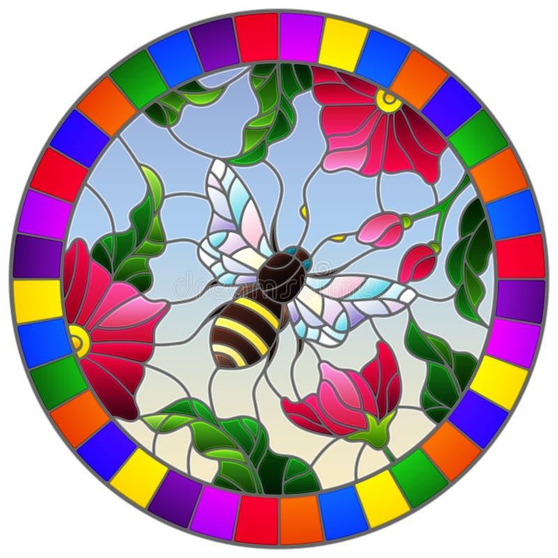 Illustration en verre souillée avec fleurs et abeille roses lumineuses sur un fond de ciel, image ronde dans le cadre lumineux illustration stock