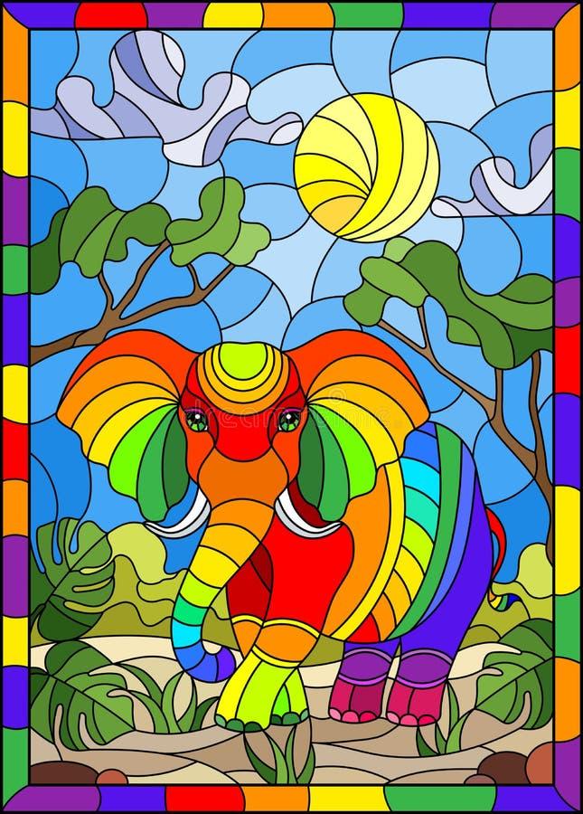 Illustration en verre souillée avec l'éléphant mignon d'arc-en-ciel sur le fond des arbres verts du ciel nuageux et du soleil, da illustration libre de droits