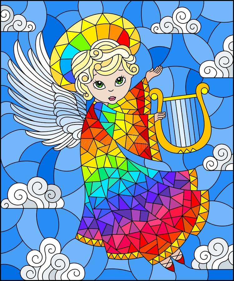 Illustration en verre souillée avec l'ange d'arc-en-ciel de bande dessinée jouant l'harpe contre le ciel nuageux illustration stock