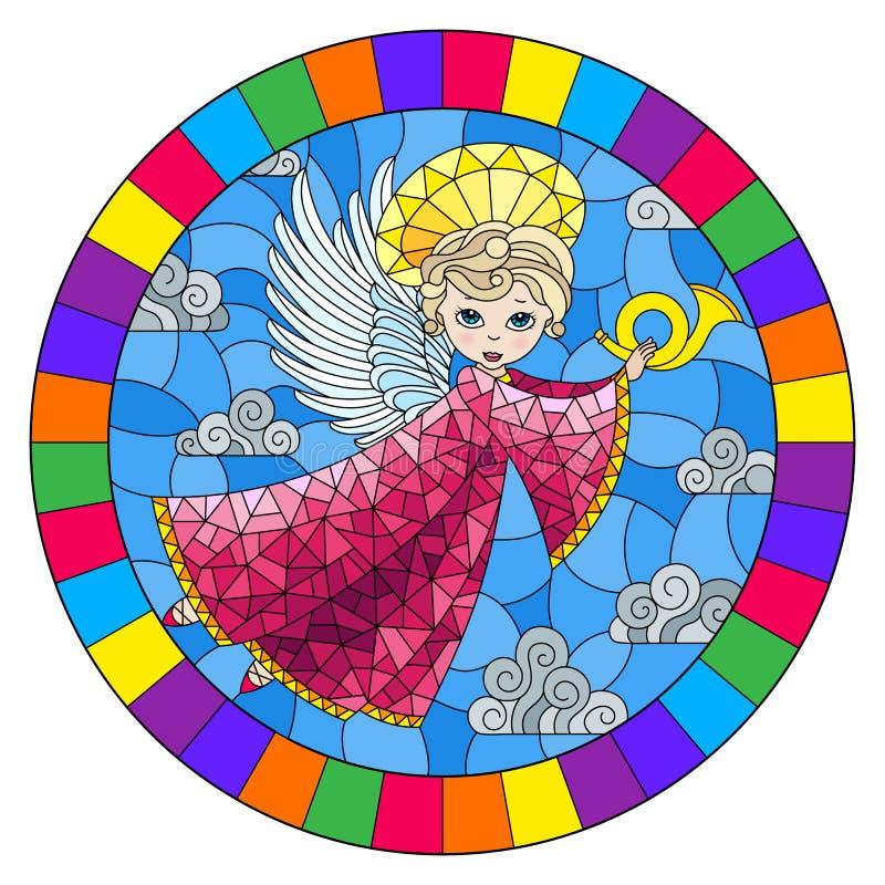 Illustration en verre souillée avec l'ange de bande dessinée dans la robe rose jouant le klaxon contre le ciel nuageux, image ron illustration stock