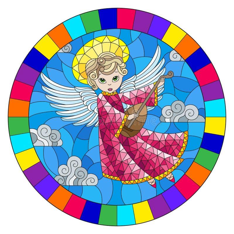 Illustration en verre souillée avec l'ange de bande dessinée dans la robe rose jouant le luth contre le ciel nuageux, image ronde illustration stock