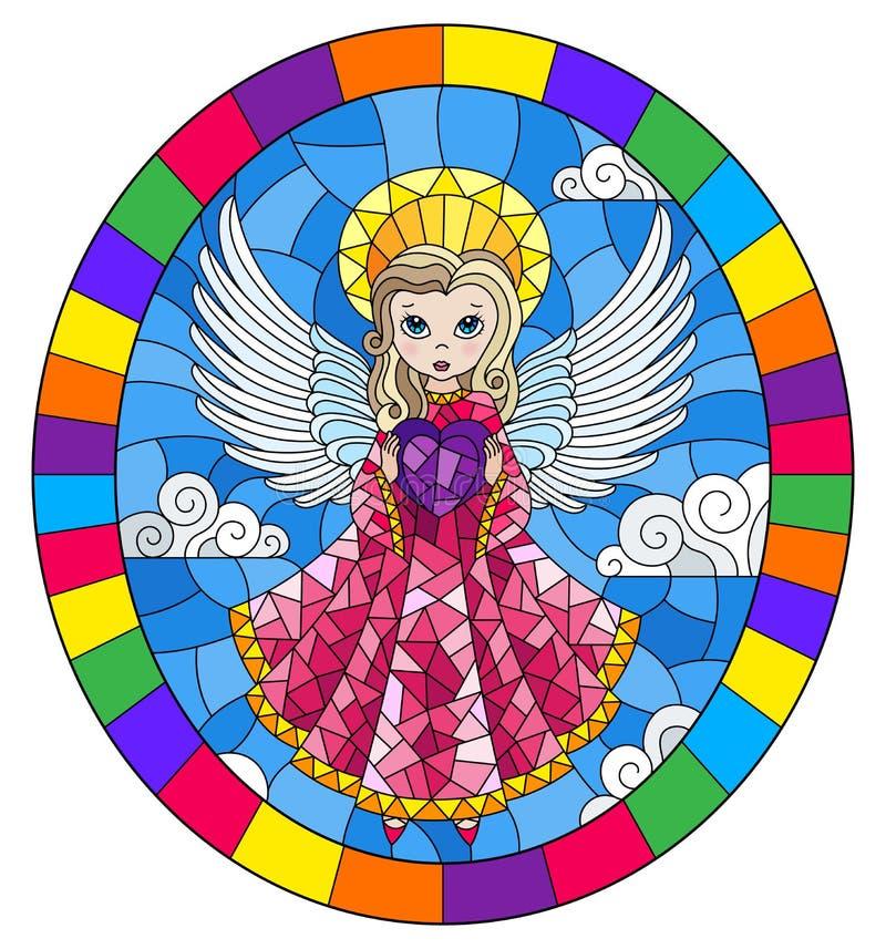 Illustration en verre souillée avec l'ange de bande dessinée dans la robe rose avec le coeur dans des mains contre le ciel nuageu illustration de vecteur