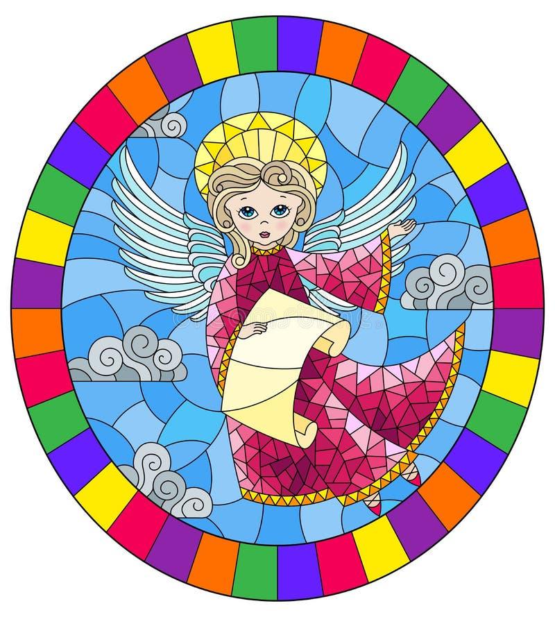 Illustration en verre souillée avec l'ange de bande dessinée dans la robe rose avec le rouleau dans des mains contre le ciel nuag illustration stock