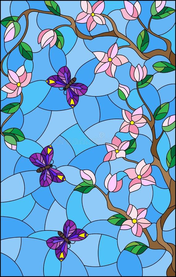 Illustration en verre souillée avec l'arbre de fleurs de cerisier et papillons lumineux sur le fond de ciel bleu illustration libre de droits