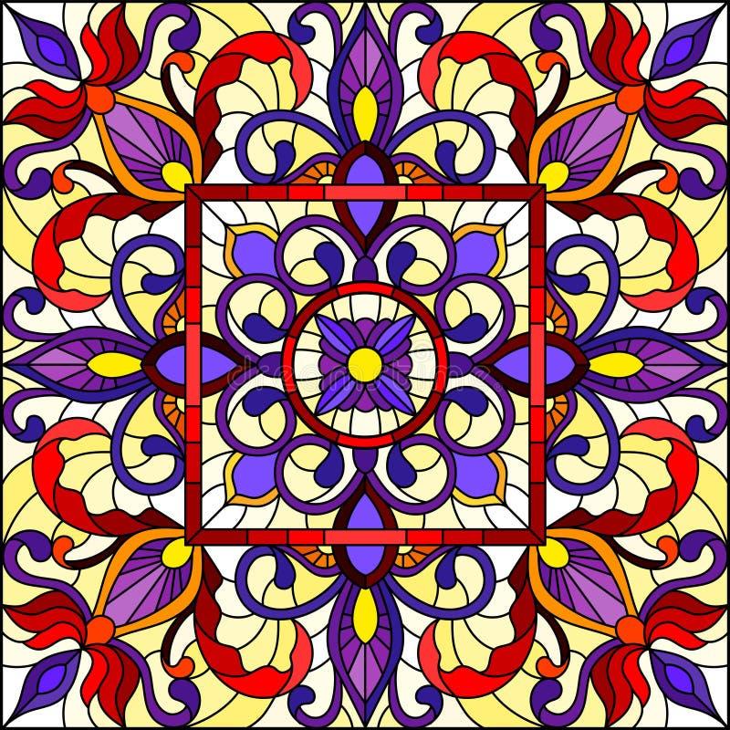 Illustration en verre souillée avec l'image retournée carrée avec les ornements floraux et les modèles de remous, rouges et pourp illustration stock