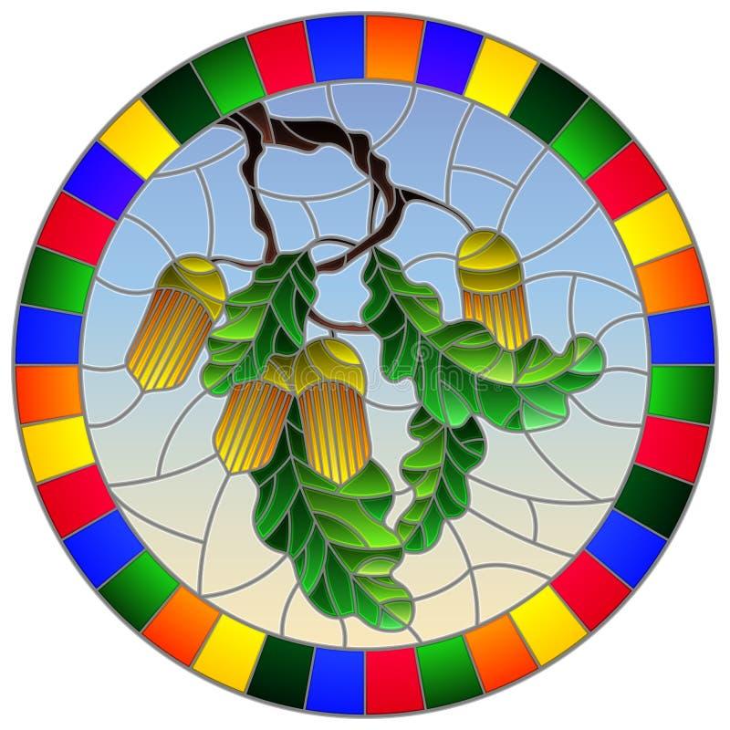 Illustration en verre souillée avec la branche d'un chêne, des glands et des feuilles sur le fond du ciel bleu dans un lumineux illustration libre de droits