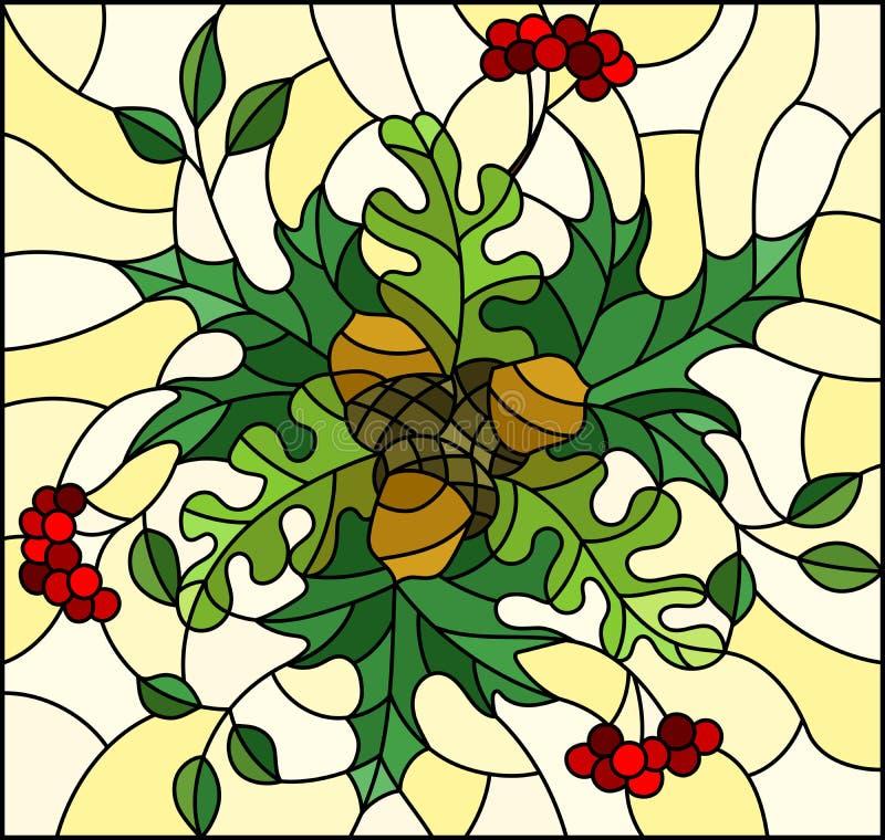 Illustration en verre souillée avec la composition florale, les feuilles lumineuses et les fruits sur le fond jaune, image rectan illustration de vecteur