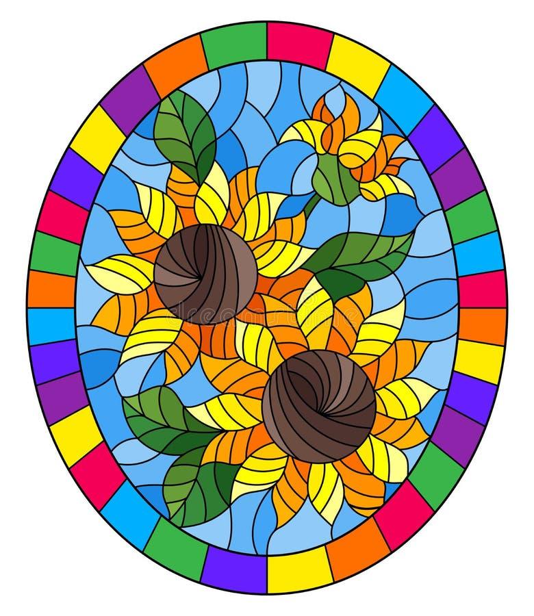 Illustration en verre souillée avec la fleur des tournesols sur un fond bleu dans un cadre lumineux, image ovale illustration de vecteur