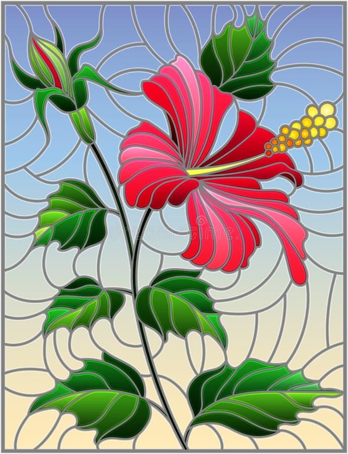 Illustration en verre souillée avec la fleur, les bourgeons et les feuilles des ketmies roses sur le fond de ciel illustration de vecteur