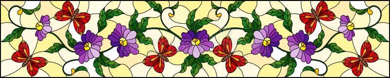 Illustration en verre souillée avec la fleur pourpre bouclée de résumé et un papillon rouge sur le fond jaune, image horizontale illustration de vecteur