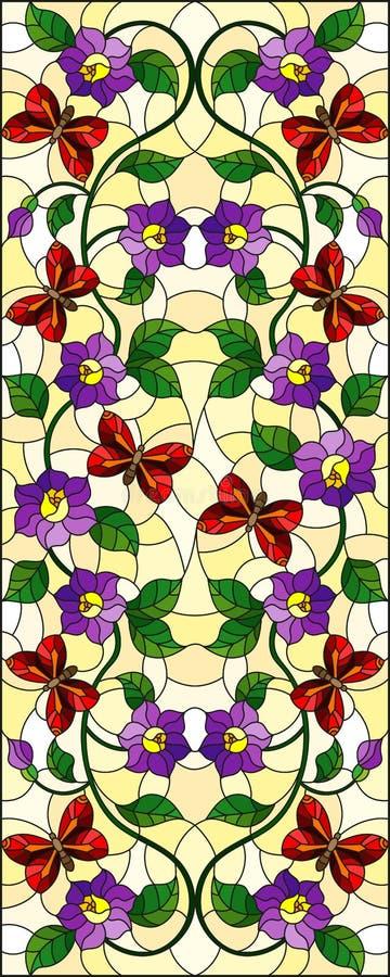Illustration en verre souillée avec la fleur pourpre bouclée de résumé et un papillon rouge sur le fond jaune, image verticale illustration stock