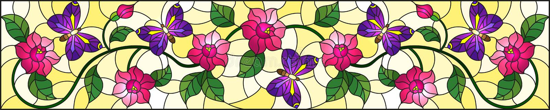 Illustration en verre souillée avec la fleur rose bouclée de résumé et un papillon pourpre sur le fond jaune, image horizontale illustration libre de droits