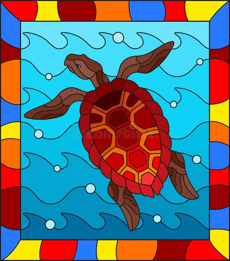 Illustration en verre souillée avec la tortue de la Mer Rouge sur un fond des vagues de mer et des bulles d'air dans un cadre lum illustration libre de droits