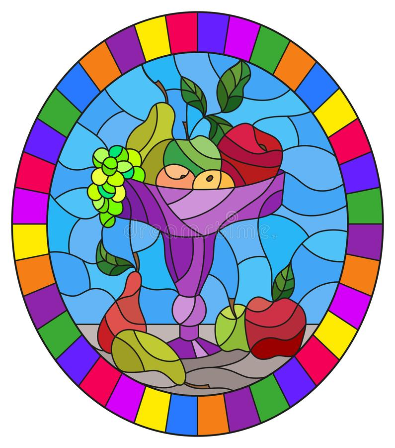 Illustration en verre souillée avec la vie immobile, des fruits et des baies dans un vase pourpre, image ovale dans le cadre lum illustration stock