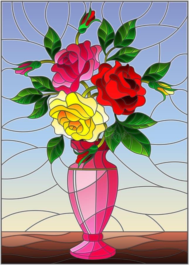 Illustration en verre souillée avec la vie immobile florale, bouquet coloré des roses dans un vase rose sur un fond bleu illustration de vecteur