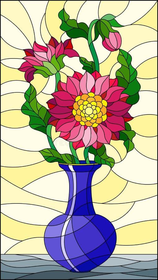 Illustration en verre souillée avec la vie immobile florale, un bouquet des asters roses dans un vase bleu sur un fond jaune illustration stock