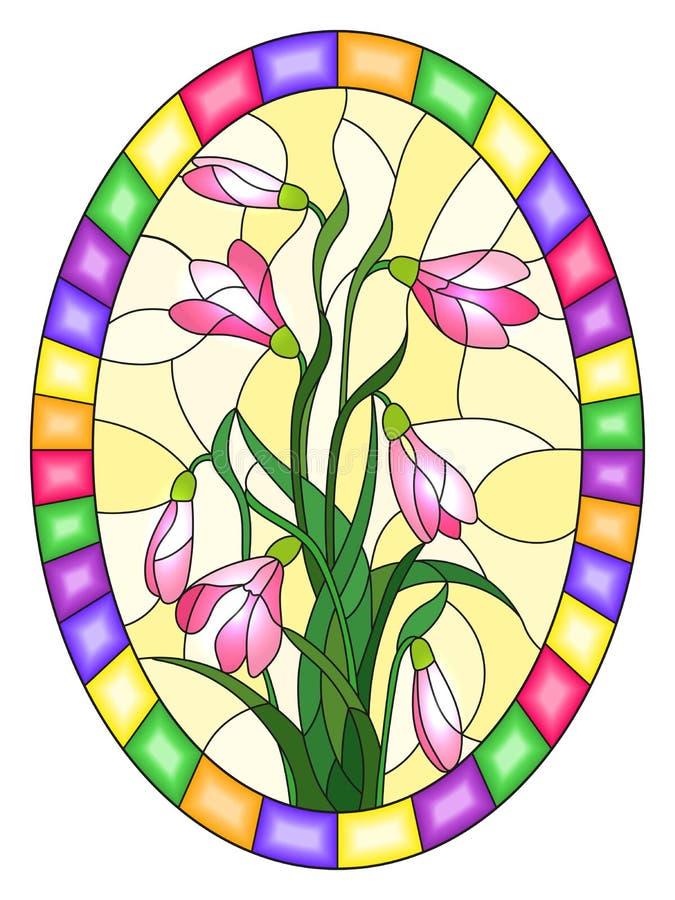 Illustration en verre souillée avec le bouquet des perce-neige roses sur un fond jaune, image ovale dans le cadre lumineux illustration libre de droits