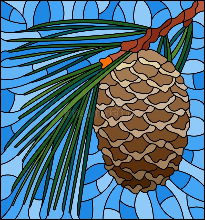 Illustration en verre souillée avec le cône de cèdre sur une branche sur un fond bleu illustration libre de droits