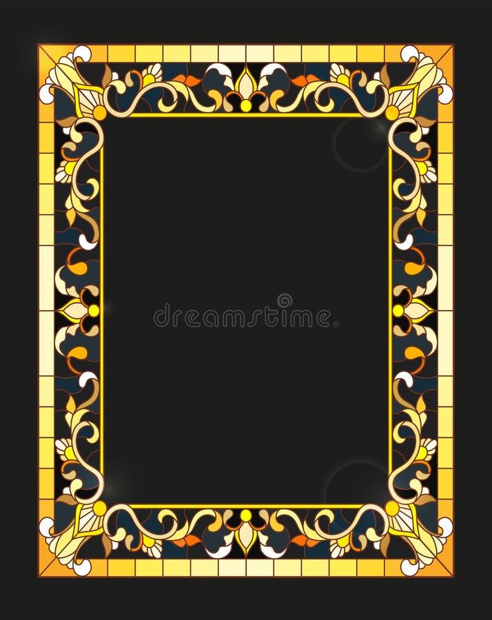 Illustration en verre souillée avec le cadre avec les fleurs et les feuilles florales et d'or sur un fond foncé, image rectangula illustration de vecteur