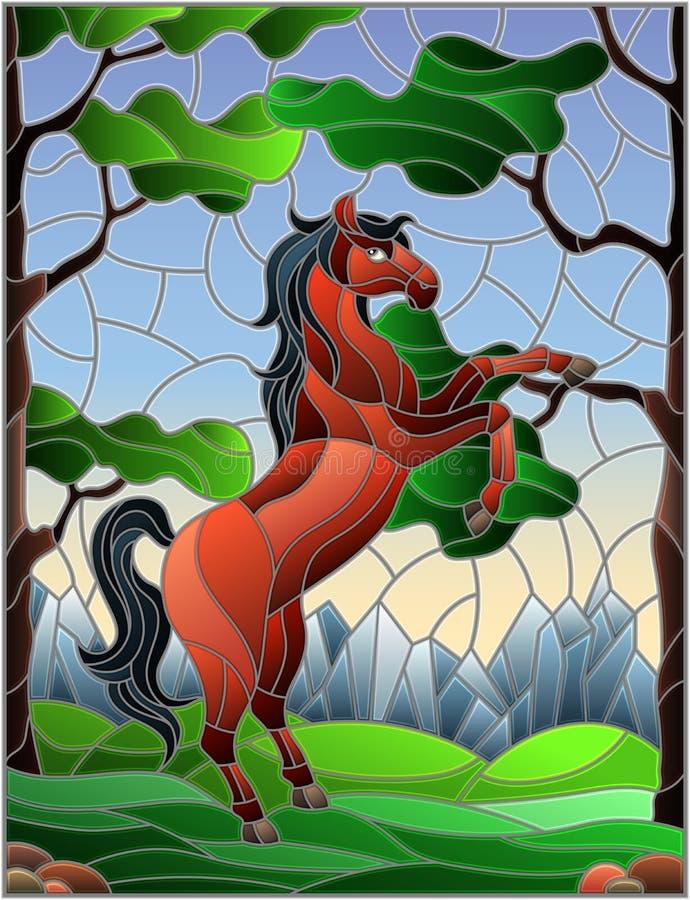 Illustration en verre souillée avec le cheval sur le fond des arbres, des montagnes et du ciel illustration libre de droits